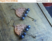 ReSERVED For Sandra AUTUMN RAIN. Copper Umbrellas and bumply blue glass pearls unique earrings