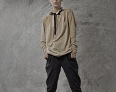 Winter Sale 15% Off!!! Black tying stone washed denim cotton baggy pants