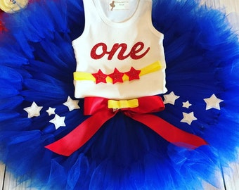 Wonder Woman Costume | 1st Birthday Tutu Dress | Baby Birthday Tutu | Cake Smash Tutu | Tutu Skirt | Wonder Woman Tutu | Super Hero Costume