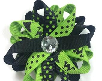 Halloween Hair Bow, Cats Hair Bow, Handmade Hair Bow, Black & Green Hair Bow, No Slip Hair Bow, 2.5 Hair Bow, Made To Order, Loopy Hair Bow