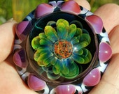 Glass pendant...Fume love stellar explosion in pink..by Erin Cartee