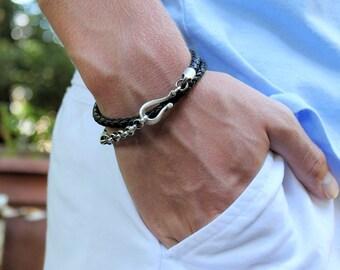 Mens Double Wrap Bracelet, Black Leather and Silver Chain Bracelet