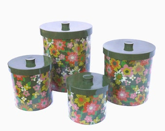 Floral Canister Set, Kitchen Canisters, Green Canisters, Round Nesting Canisters, Hard Plastic Canisters, Retro Kitchen Storage
