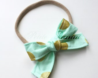 Petite Peanut Bitty Bow Headband - Mint and Gold Polka Dot - Baby Girl Toddler - (Made to Order) -Spring Summer