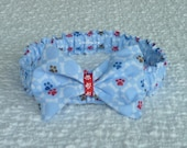 "Paws and Bones on Blue Dog Scrunchie Collar - bow tie - Size XXL 18"" to 20"" neck"
