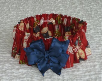 "Snowmen in Stockings Christmas Dog Scrunchie Collar - navy bow - Size L: 16"" to 18"" neck - TrY Me PRiCe"