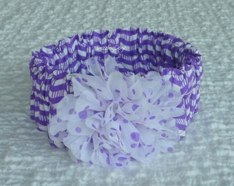 "Purple Zig Zag Stripe Dog Collar Scrunchie with dotted chiffon flower - L: 16"" to 18"" neck"