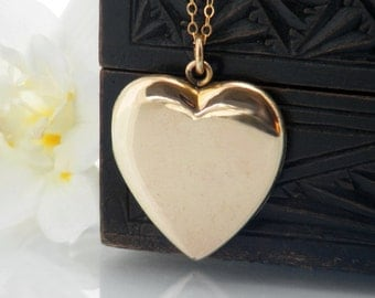 Victorian Gold Locket | Antique Locket | Large Heart Locket Love Token | Polished Gold Filled Photo Locket - 24 Inch Long Gold Filled Chain
