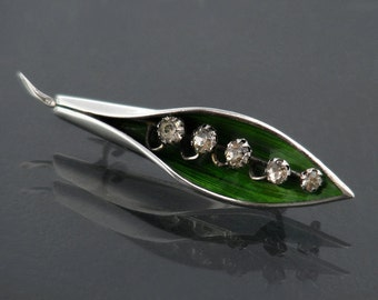 Antique Brooch | 1916 Lily of the Valley Sterling Silver & Emerald Green Enamel Edwardian Brooch Pin | Hallmarked English Silver Lily Brooch