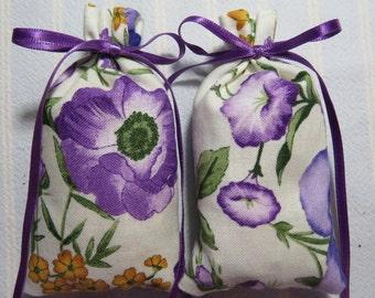 "Lavender 3""X2"" Sachet-'Flower Garden' Fragrance-Purple Morning Glories Sachet-Cotton Fabric Botanical/Herbal Sachet-Cindy's Loft-031"