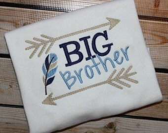Big Brother or Little Brother Sibling Shirt Arrows Tribal