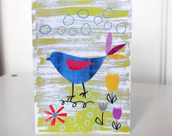 Blank Card. Blue Bird Tending to His Paper Garden. Greetings Card