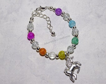 Bright & Clear Rainbow Unicorn Bracelet On Wire