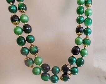 SALE Vintage Long Green  Bead Necklace.  Hong Kong. Two Strand Shades of Green Beaded Necklace.