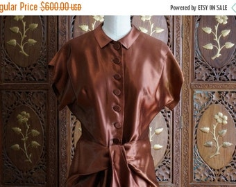 ON SALE 1940s Silky Liquid Satin Copper Skirt Suit