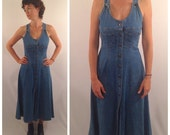 Sales Vintage 1980's Denim Shirt Dress / Fit and Flare Sundress with Buttons Down the Front / XSmall Small