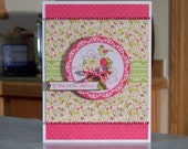 "Handmade Birthday Card - 6 1/2"" x 5"" - A Little Birdie Told Me....Floral Cupcake with Bird Perched On top"