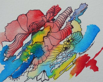 Abstract Original Watercolor and Ink Painting
