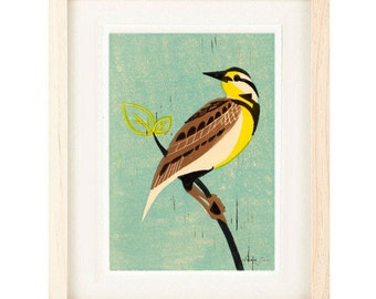 MEADOW LARK Bird Poster Size Linocut Reproduction Giclee Art Print: 8 x 10, 11 x 14, 12 x 16, Wall Art, Home Decor, Shabby Chic, Farmhouse