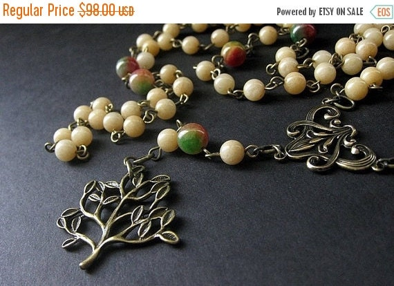 BACK to SCHOOL SALE Tree Necklace. Gemstone Necklace in Aragonite, Jade and Bronze. Seasons Change Meditation Beads. Woodland Necklace. Hand