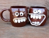 Valentines Day Mr and Mrs Mug Gift Set. His and Hers Coffee Cup Pair. Large 16 Oz Ceramic Mugs. Red Brown Coffee Cups. Man Woman Face Mugs.