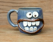 Face Mug. Grinning Smiley Face Mug. Blue Pottery Coffee Cup. Stoneware Clay Ceramic Tankard. Handmade Pottery. One of a Kind Coffee Mug.
