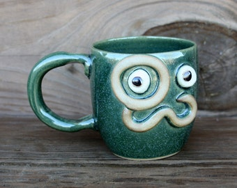 Man Mustache Mug with Monocle. Handlebar Mustache Love. Moustache Lover Gift. Husband Boyfriend Dad Gifts. Frosty Green Pottery Coffee Cup.