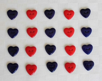 20 colorful 2-hole- heart-glass  buttons - 2  diff. colors -  (15 x 15 mm - 5/8 x 5/8 in.)