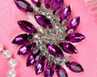 "JB234 Glass Rhinestone Applique Plum Crystal Marquise Swirl 2.5"" (JB234-plcr)"