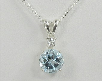 Sky Blue Topaz 7mm 1.45ct Sterling Silver Necklace