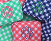 BLUE Gingham monogram cosmetic bags