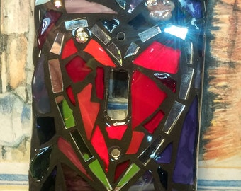 HEART Design - STAINED Glass MOSAIC Light Switch Cover -single, double, triple, outlet, or decora gfci - Made to order - any color! Love