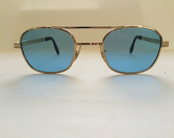 Refurbished Blue lens sunglasses with Gold frame/ aviator/super stylish