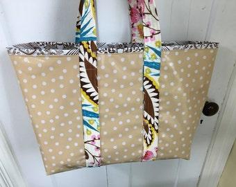 Large retro tan polka dot and toile oilcloth tote bag