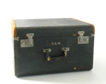 Vintage S & S Trunk Co Square Suitcase • Black Cowhide Leather Suitcase