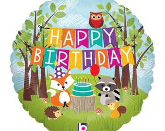 "Woodland Birthday Balloons, Balloons, HAPPY BIRTHDAY  Balloon, Farm Party, Party, 18"" Mylar Helium or Air"