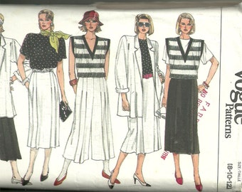 Vogue Sewing Pattern 9270 Mix and Match Jacket Vest Top Skirt Pants Sz 8 10 12 UC