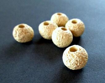 "Off white ceramic beads, textured mykonos beads, round 16mm""lava""greek ceramic beads, set of 6"