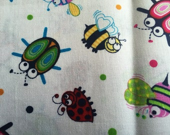 Fat quarter Cotton Fabric | Cute Little Bugs | Lady bugs | Bees | Beetles | Colorful fabric | Ready to ship!