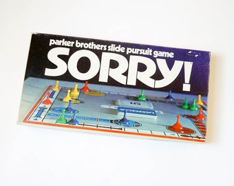 Vintage 1970s Game / Parker Brothers Sorry Board Game 1972 Complete / Slide Pursuit Game for Whole Family