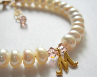 More Colors Freshwater Button Pearl Initial Bracelet with Crystals in 14kt Gold Fill B108
