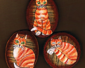 Hand Painted Orange Tabby Cat Magnet Set, Mixed Media Collage, Possum refrigerator Magnets, Set of Three