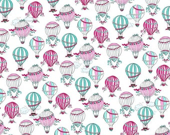 C'est La Vie by Ink and Arrow Fabric Paris Hot Air Balloons Balloon Ride Fly Away Above the Clouds on White