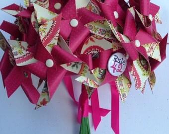 SALE Wedding Mini Pinwheel Bridal Bouquet by Rule42 Ready to Ship
