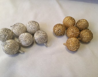Vintage beaded drops buttons Czech glass beads 1940s glitz trim embellishment set of two