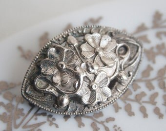 Edwardian Brooch, Clovers and Flowers, Silver Tone, Good Luck Jewelry