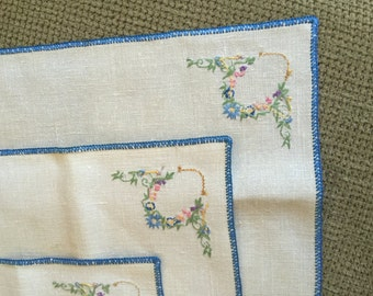 Vintage Embroidered Table Runner and Matching Squares Blue Pink Flowers