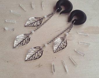 Silver Dancing Leaf Drop Gauged Earrings with Moonstones