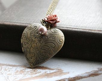 Heart Locket Necklace , Long  Necklace Locket , Gift for Her ,  Flower LocketNecklace , Gold Heart Locket , Vintage Inspired Locket - Mia