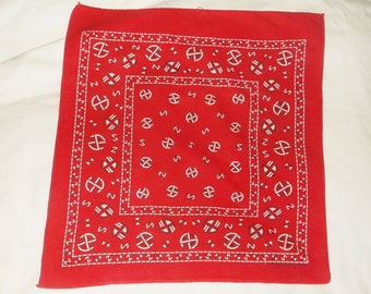 Vintage Red geometric circle Fast Color Bandanna • fast color bandana handkerchief
